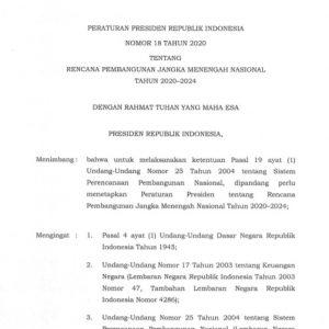 Peraturan Presiden Republik Indonesia Nomor 18 Tahun 2020