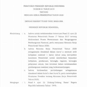 Peraturan Presiden Republik Indonesia Nomor 61 Tahun 2019